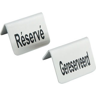 Semn pentru masa - Rezervat Gereserveerd / Reserve, Reserviert sau Rezerwacja, din otel cromat set de 4 bucati - 52x(H)40 mm