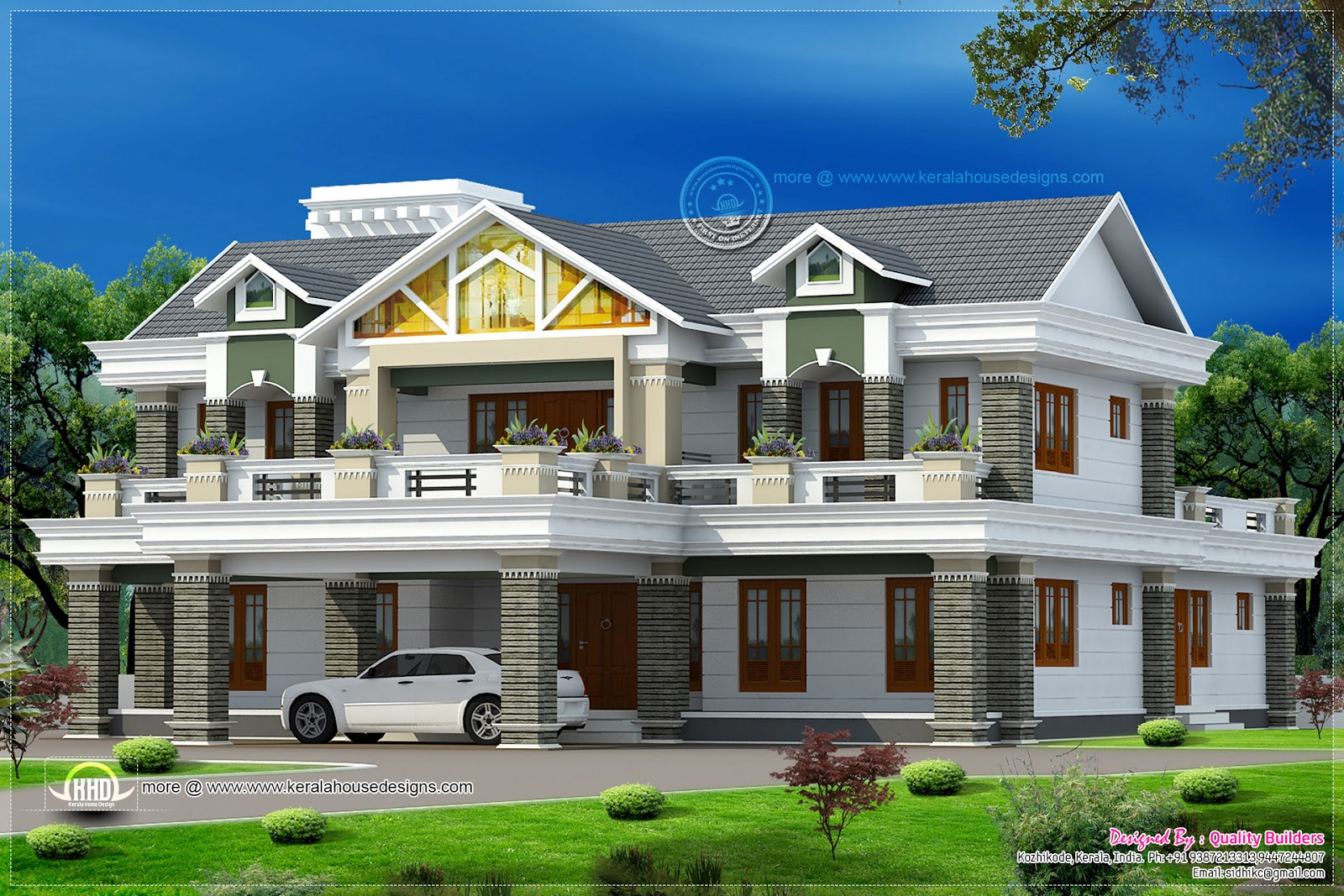 5935 super luxury home design kerala home design for Luxury farmhouse plans