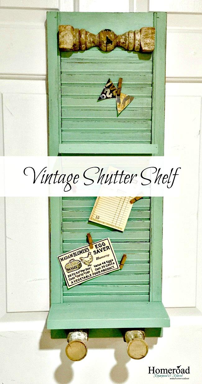 vintage shutter shelf with antique spindle hooks www.homeroad.net