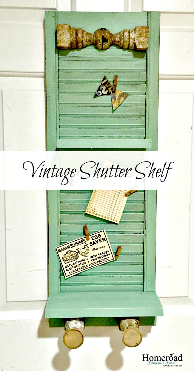 repurposed shutter with tags and overlay