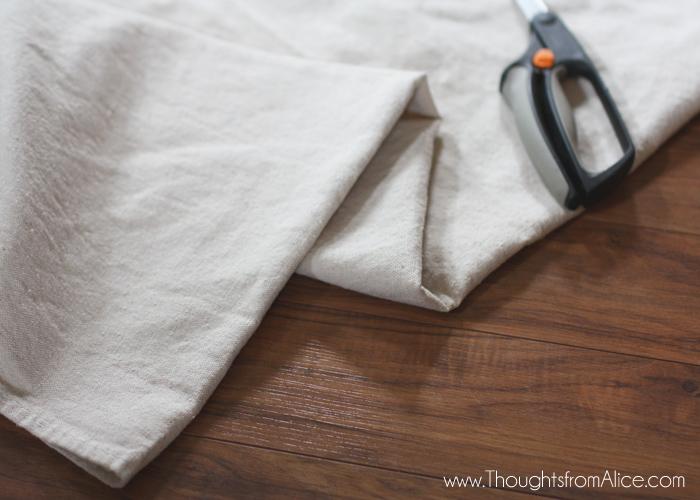 drop cloth fabric cut as curtain panels