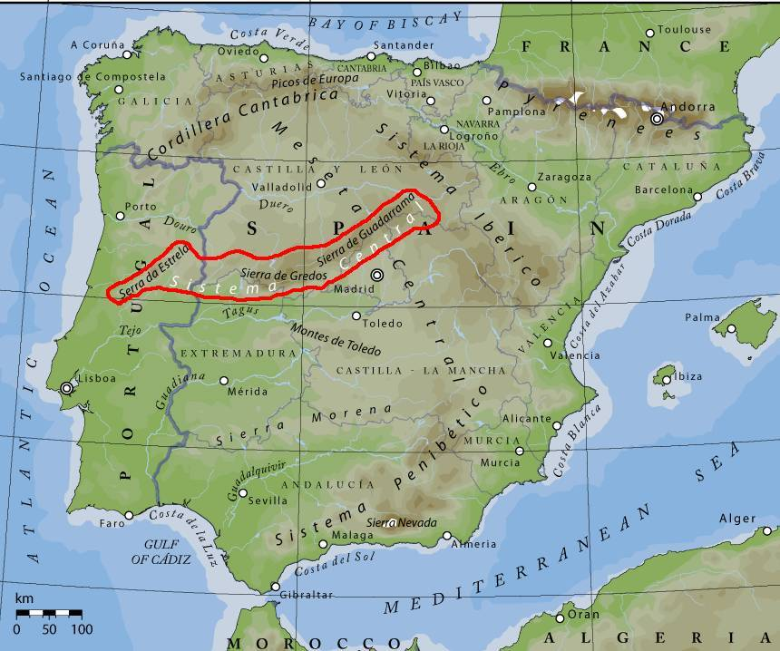 Map Of Spain With Mountains.A View Of Madrid Spain Rocks