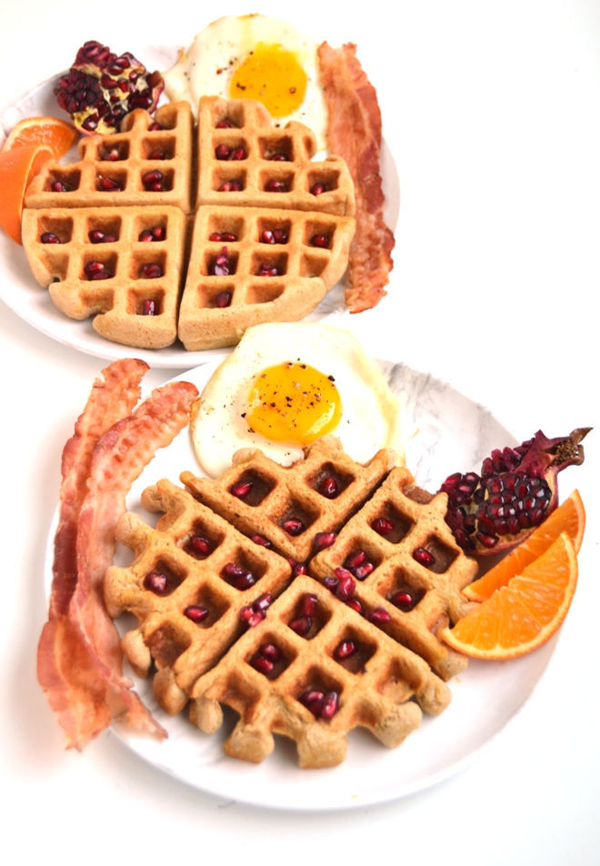 Chai Whole-Grain Waffles are whole-wheat yet are light and fluffy and are packed with protein ans fiber and delicious warm chai spices. They can be made ahead of time and reheat well in the toaster. www.nutritionistreviews.com