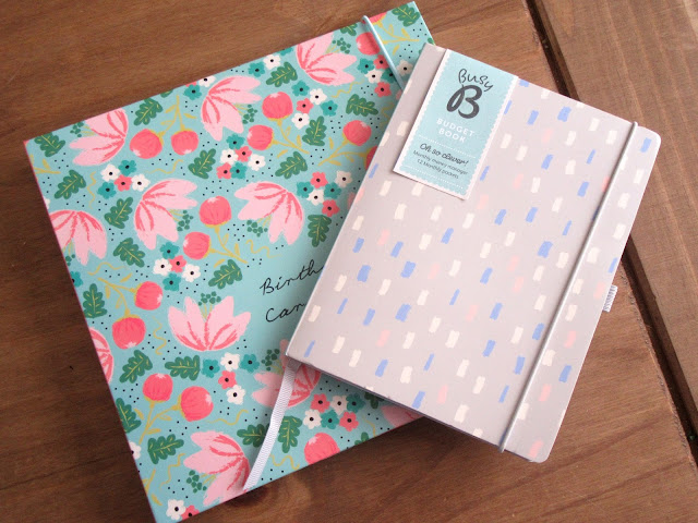 Busy B birthday card book and budget book