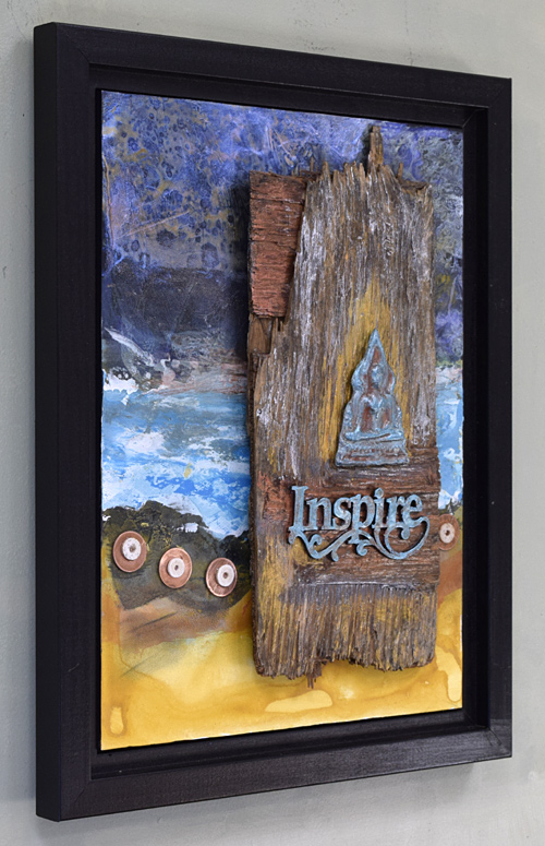 mixed media with bone, copper, wood, metal and acrylic