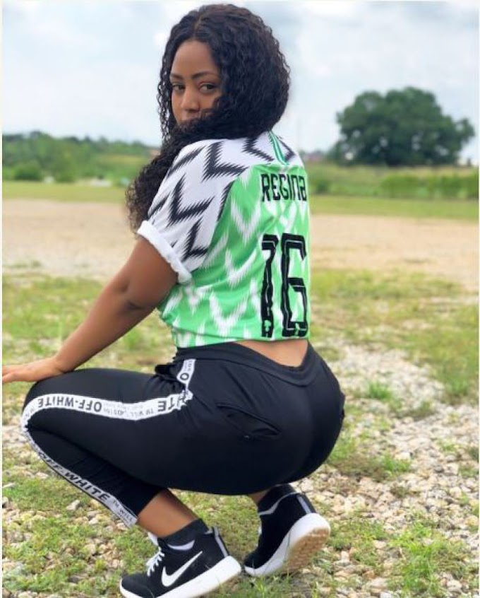 WHAT A PITY: Nigeria Actress, Regina Daniels Rock  In Super Eagles Jersey
