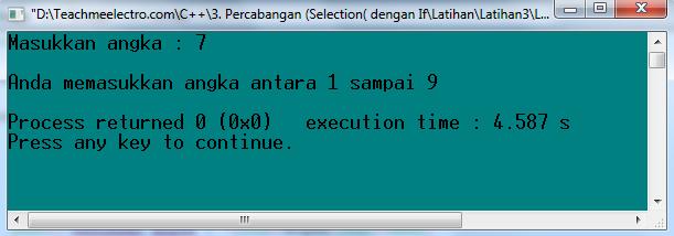 Kondisi saat angka yang di input tidak antara 1 sampai 9