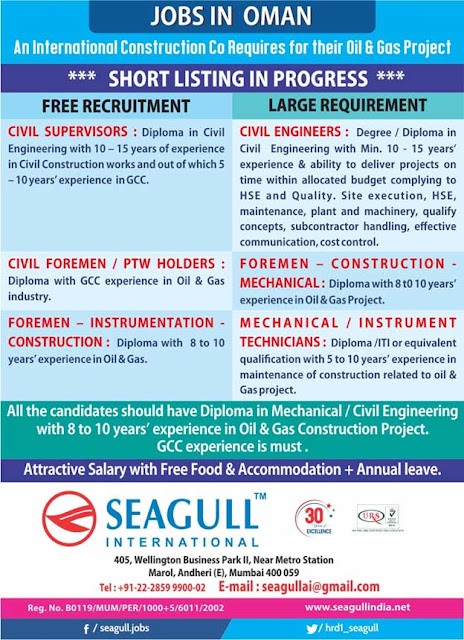 Oman Jobs at Seagull International