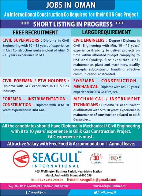 Oman Jobs at Seagull International