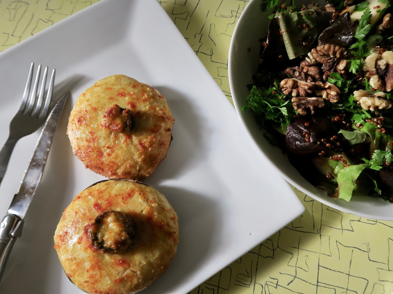 Speedy mushroom rarebit with walnut and quinoa salad