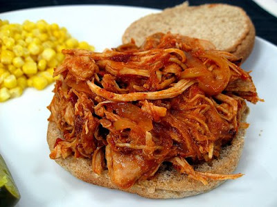 Slow Cooker Pulled Chicken with Chipotle Barbecue Sauce from Elly Says Opa found on SlowCookerFromScratch.com