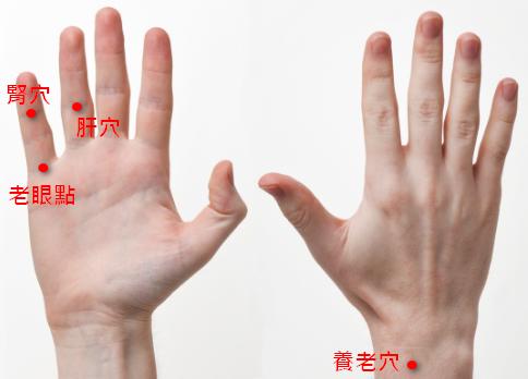 手掌穴道 - 老花眼穴道按摩穴位 - 肝穴、老眼點、養老穴