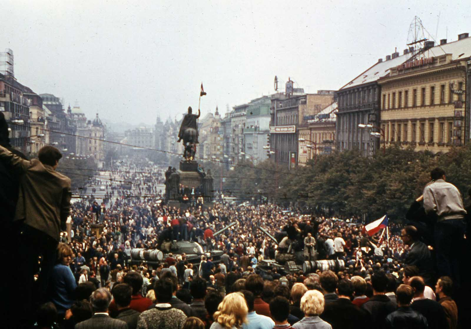 Thousands of protesters crowd into Wenceslas Square, in downtown Prague, in August 1968, demonstrating against the Soviet invasion.