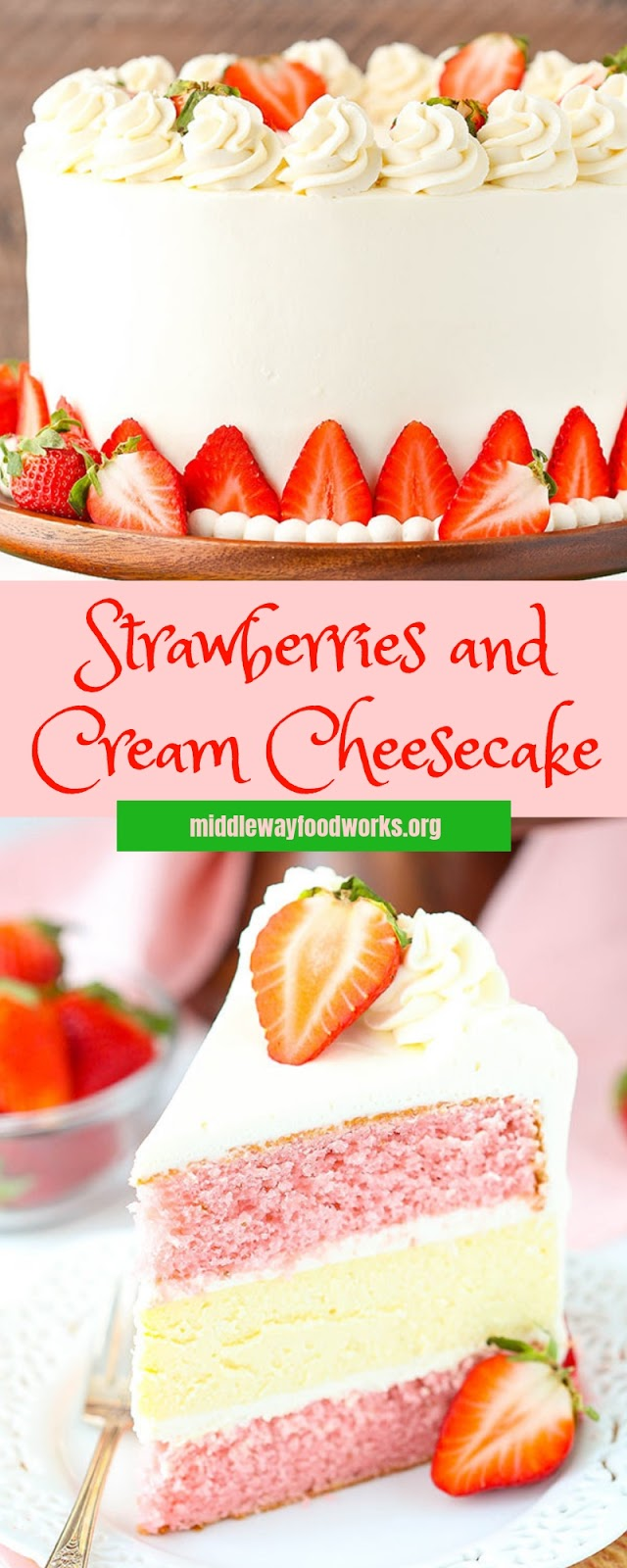 Strawberries and Cream Cheesecake #christmas #cake