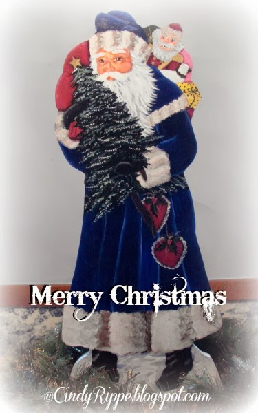 Victorian Santa with Blue Coat, Pipka painting pattern, Decorative Painted Santa, Cindy Rippe, Florals, Family, Faith