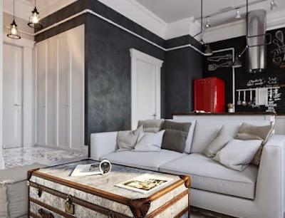 Desain Interior Rumah Minimalis dominan Hitam Putih keren