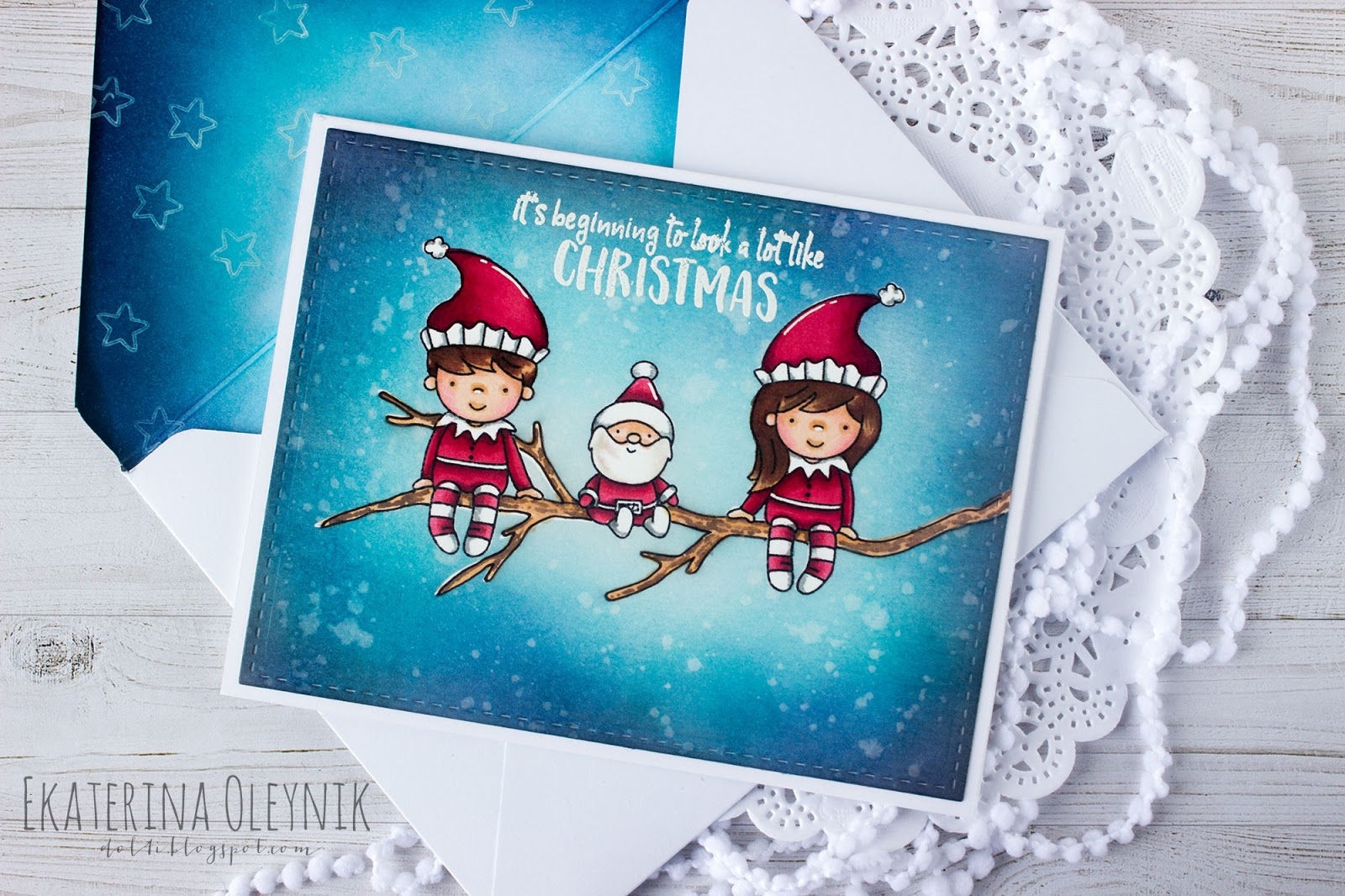 elfs on a branch or a christmas card with neat and tangled