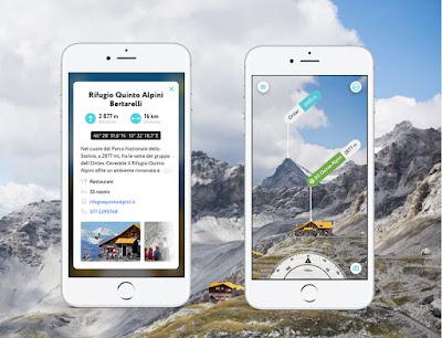 Mock-up con la descrizione dei rifugi di montagna - dall'app