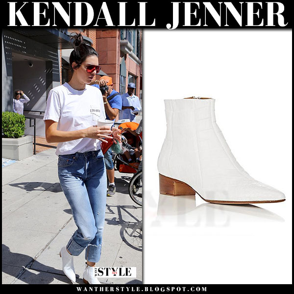 Kendall Jenner in white leather ankle boots the row ambra what she wore