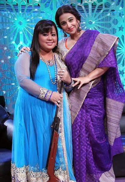 Diva Vidya Balan and Comedian Bharti with gun on the sets of  Star Plus's show- No More Kamzor