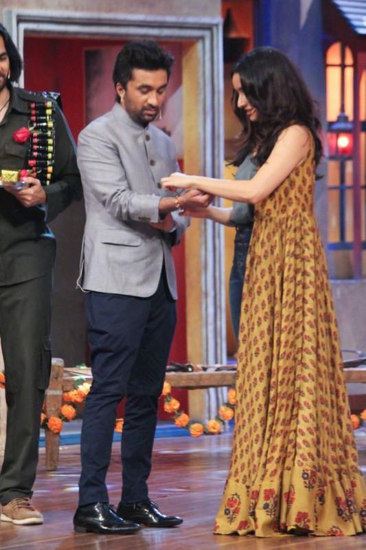 Shraddha Kapoor Ties Rakhi to Siddhant on The Drama Company Set