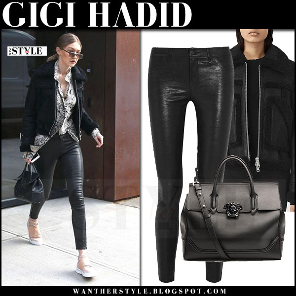 Gigi Hadid in black shearling jacket all saints asher, black leather pants j brand 8001 and sneakers what she wore