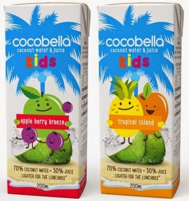 Cocobella Kids apple berry breeze and tropical island tetra packs.