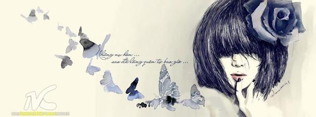 Ảnh bìa Facebook tình yêu đẹp, buồn, Cover FB Love timeline, cô gái với đôi môi buồn, girl kute ngồi buồn