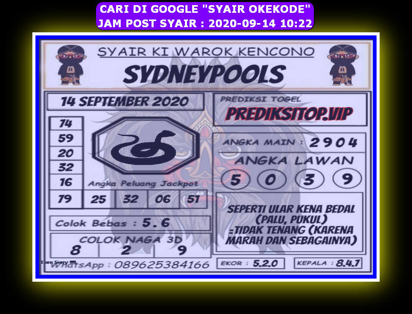 Kode syair Sydney Senin 14 September 2020 109