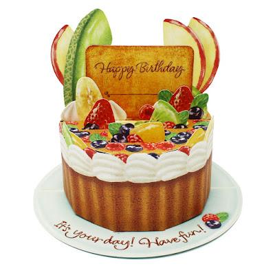 Fruit Birthday Cake Pop Up Decorative Birthday Card