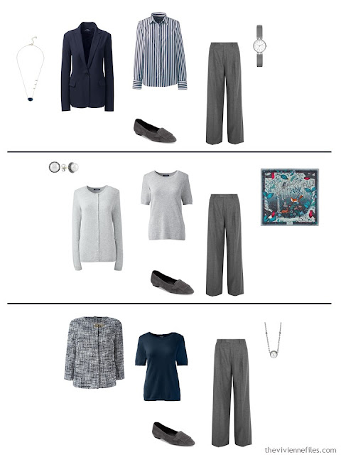 three ways to wear grey pants in a work capsule wardrobe