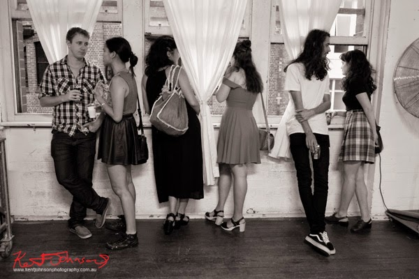 Art crowd, black accents, summer fashion at China Heights gallery - Photography by Kent Johnson.