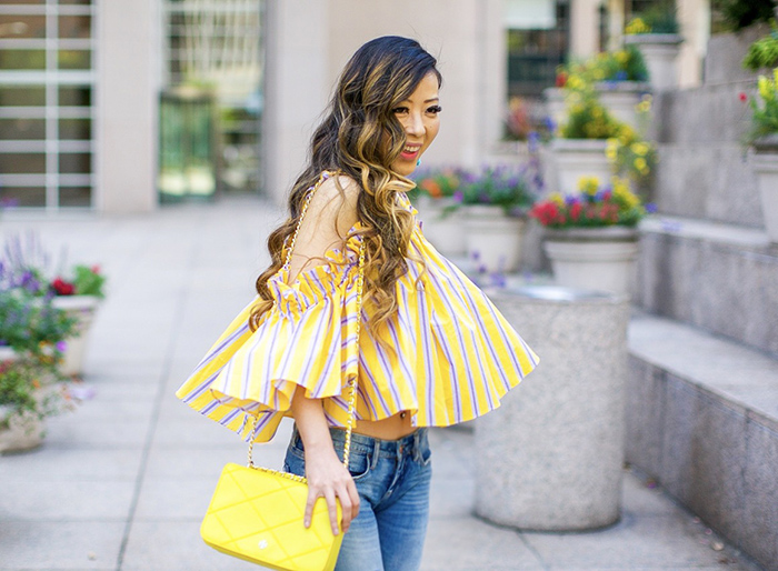 storets yellow stripe cold shoulder top, yellow cold shoulder top, tory burch crossbody bag, blank nyc jeans, sole society sandals, baublebar tassel earrings, summer outfit ideas, san francisco fashion blog, san francisco street style
