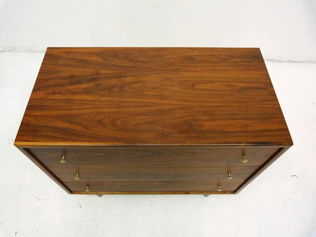 Three-Drawer Mid-Century Modern Walnut Bachelor Dresser Chest  Top