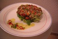 Ensalada de lentejas y vinagreta de crudités de verduras
