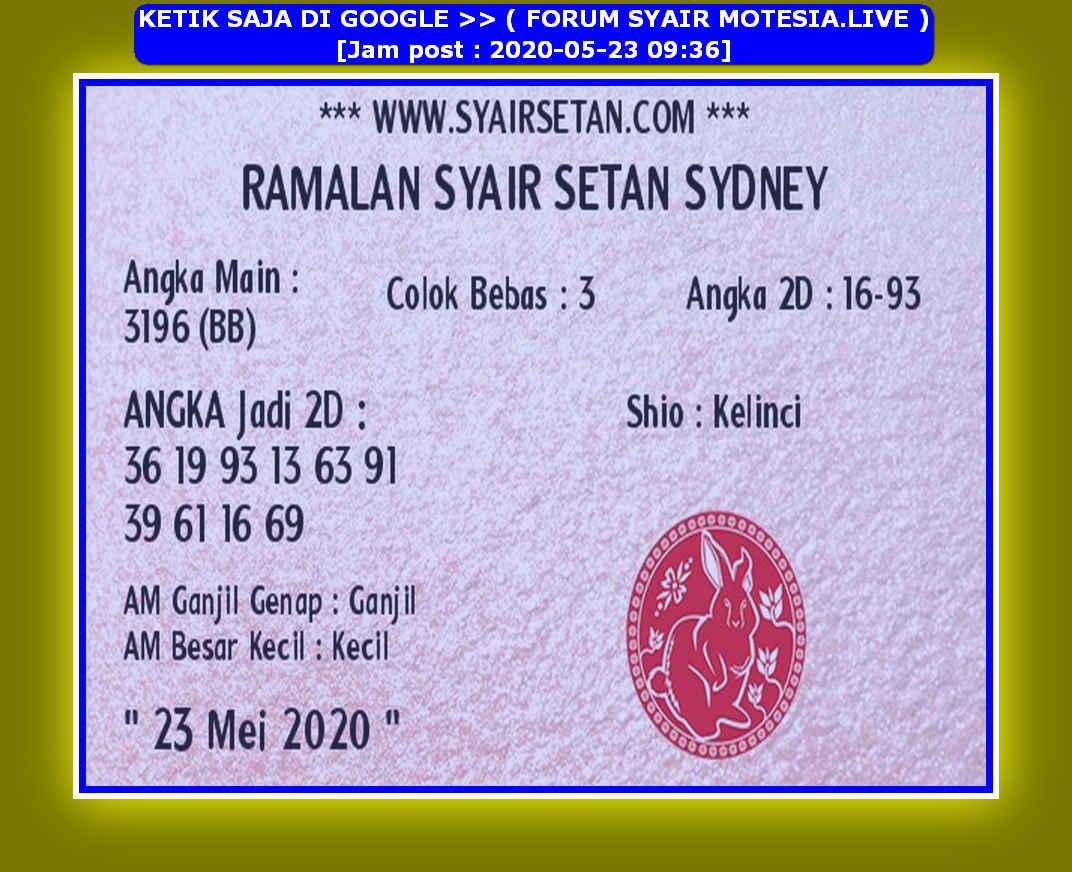 Kode syair Sydney Sabtu 23 Mei 2020 116