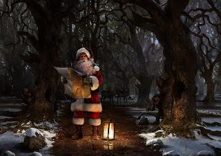 wald verloren  Weihnachtsmann dunkel
