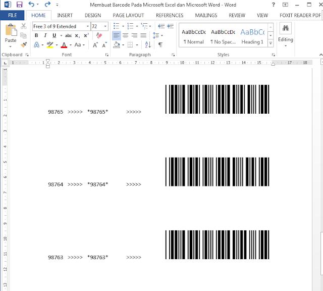 Hasil Membuat Barcode di Microsoft Word