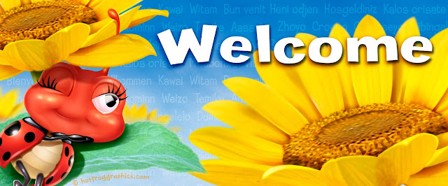 Welcome banner introducing Hot Frog online art store Ladybug and sunflowers