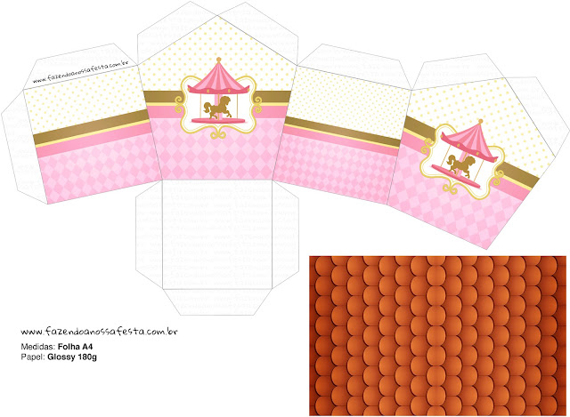 Carousel in Pink: Free Printable House Shapped Box.