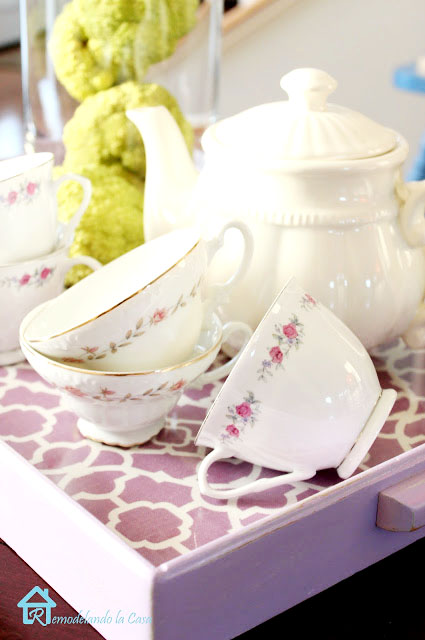 light purple spray paint used to transformed wooden tray - tea pot set and cups, hedge apples