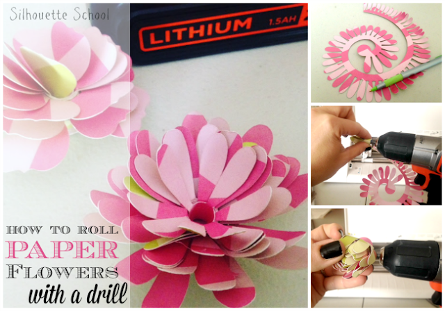 Silhouette Tutorial, paper flowers, drill