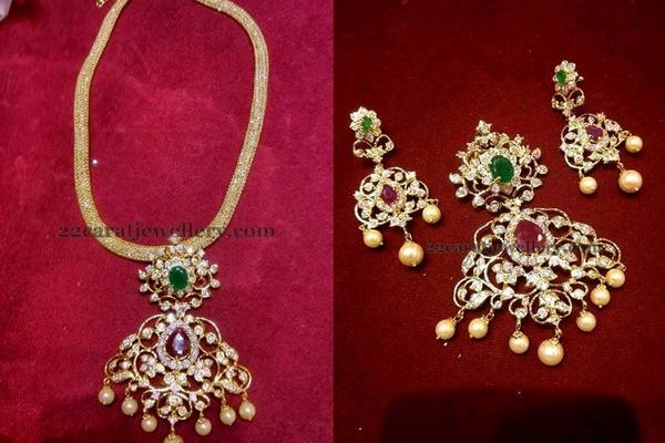 Huge sale on 1 gram gold jewelry jewellery designs 1 gram gold short necklace sets and pendant sets sale cz stones and green ruby onyx combination comes with screw back earrings aloadofball Image collections