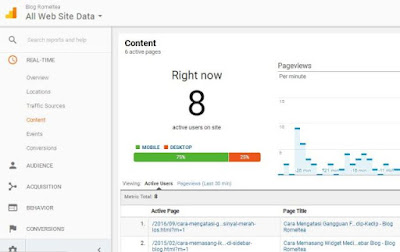 Google Analytics tentang data pengunjung real time
