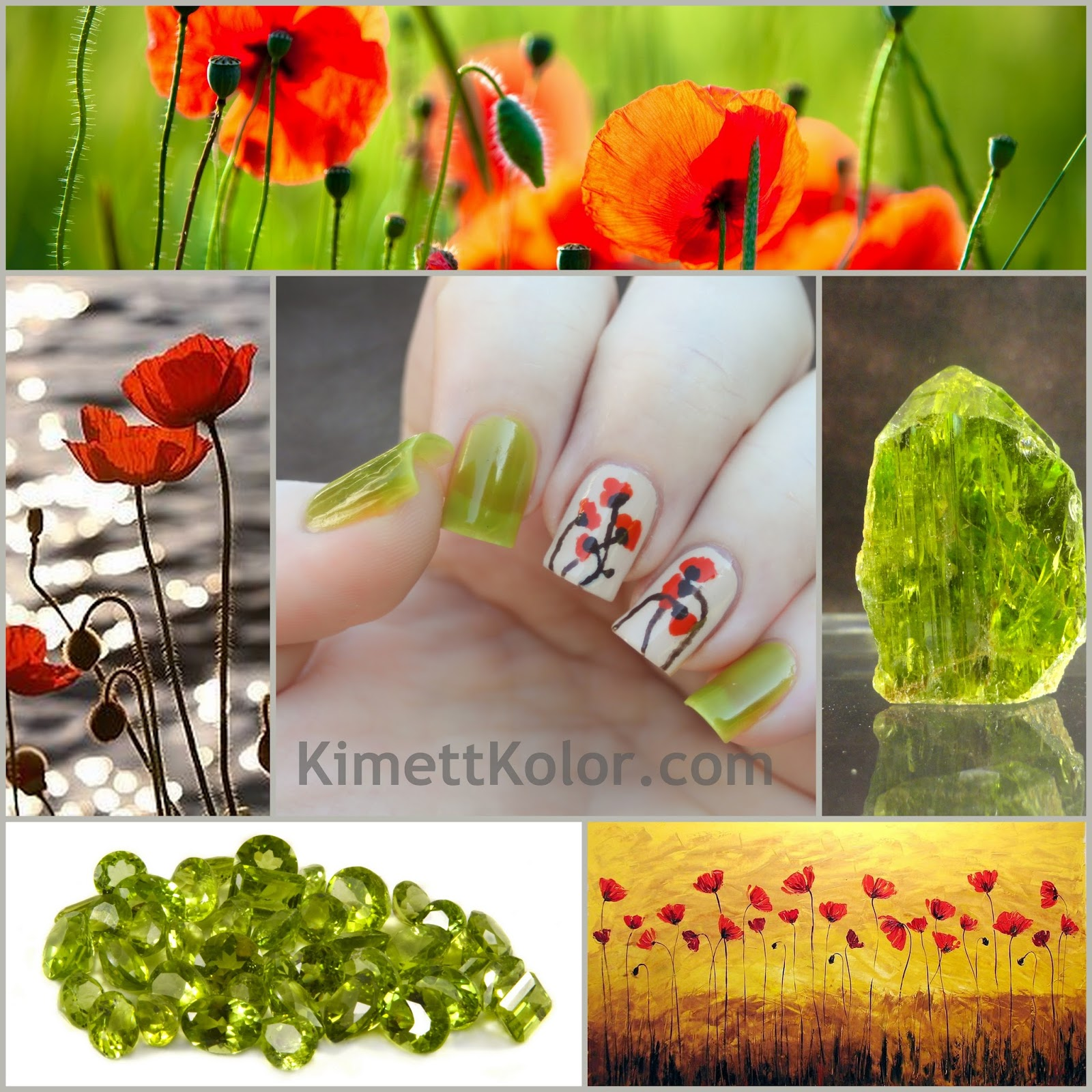 Peridot and Poppies August Nail Art by KimettKolor
