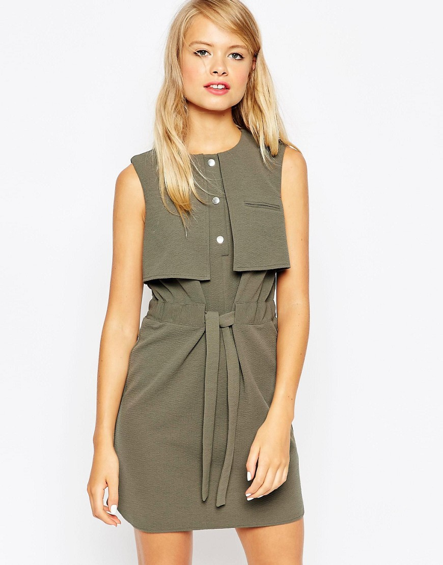ASOS SHIFT DRESS WITH TIE WAIST AND OVERLAY