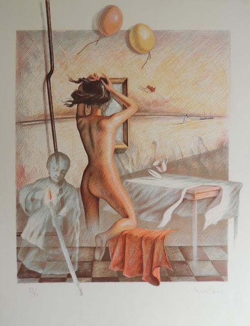 Juan Montans litografía desnudo