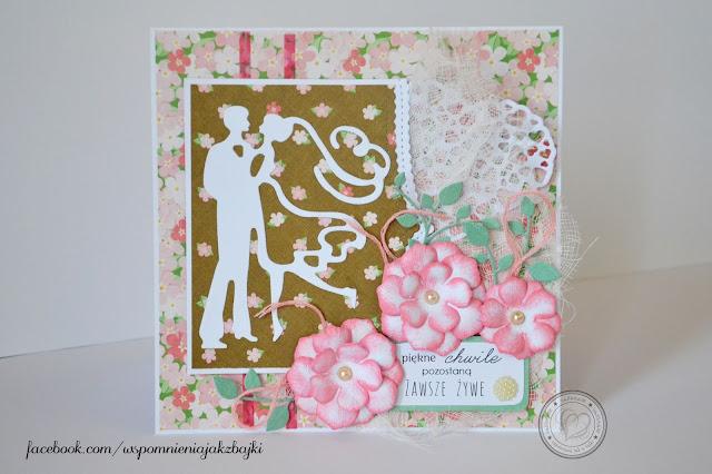 Kwiecista kartka z okazji ślubu