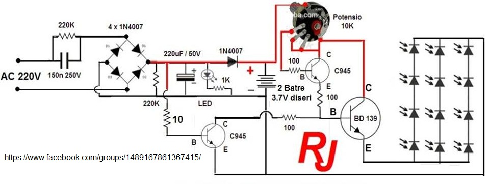 Circuit Diagram Rangkaian Lampu LED Emergency