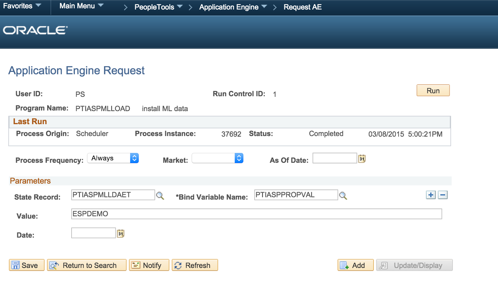 peoplesoft javier associated installed ae language process field request should using